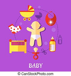 Colorful flat baby design