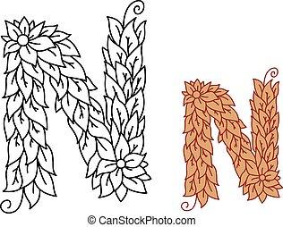 Alphabet letter N in organic leaves font