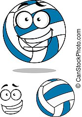 Happy cartoon volley ball - Happy blue and white cartoon...