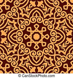 Bold intricate arabic seamless pattern with a central orange...