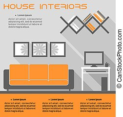 House interior infographic vector template in orange and...