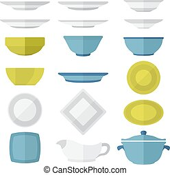 flat design dinnerware set - various vector color flat style...