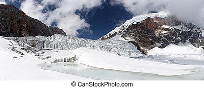 Glacier icefall panorama, Himalayas, Nepal - Panoramic image...