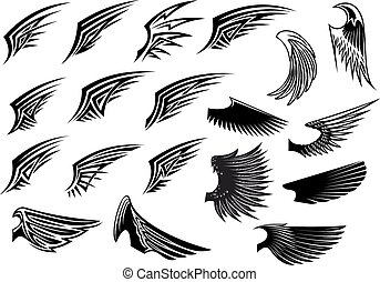 Set of heraldic bird wings - Black and white vector stylized...