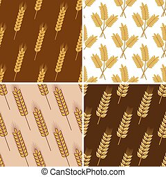 Seamless patterns of wheat and cereal ears - Seamless...
