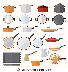 flat various tableware set - vector flat color design...
