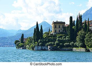 vista, a, el, lago, como, De, chalet, Monastero., Italy, ,