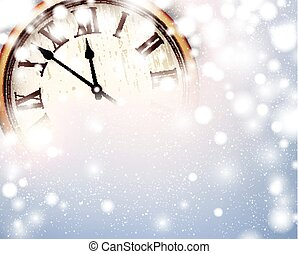 New year clock with snowy background. - Vintage clock over...