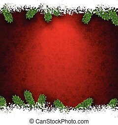 Fir and snow christmas frame. - Detailed frame with fir. Red...