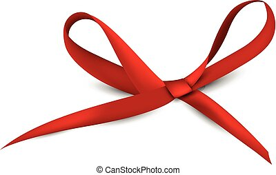 Red gift bow. - Realistic satin red gift bow. Vector...