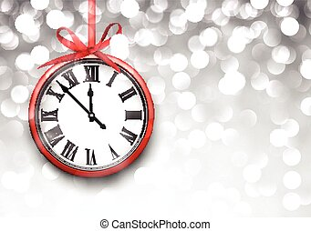 New year clock with defocused background. - Vintage clock...
