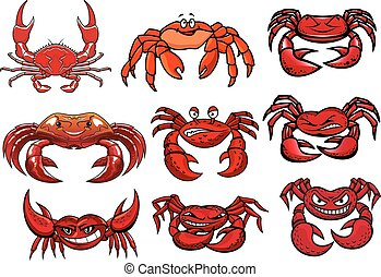 Red cartoon marine crabs set - Colorful red cartoon marine...