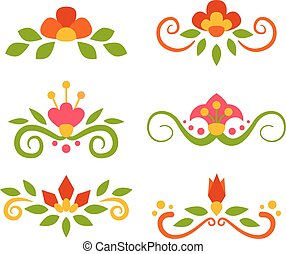 Vector set of floral fairy separators in flat style