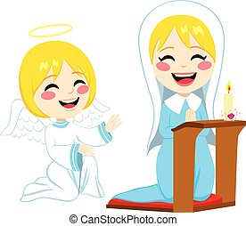 Mary Happy Praying - Mary praying happy and angel Gabriel...