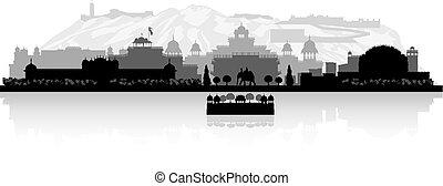 Jaipur India city skyline silhouette