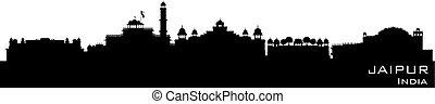 Jaipur India city skyline vector silhouette