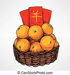 Chinese New Year Tangerine Basket - Traditional Chinese new...