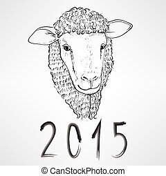 Sheep Chinese New Year - Black ink realistic sheep portrait...