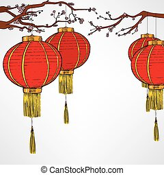 Chinese Red Lanter New Year - Traditional Chinese red...