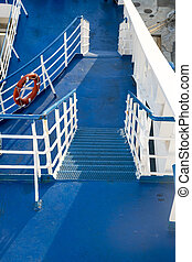 Gangway - Stairs blue-white color on karabl and rescue...