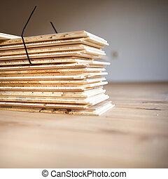 Pilha, de, madeira compensada,