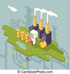 Isometric Retro Flat Factory Refinery Plant Manufacturing...