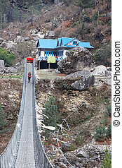 Suspension bridge en route to Everest, Himalaya - Rope...