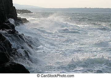 evening surf - 5 - surf at the shore of the Black Sea in...