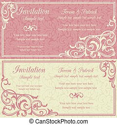 Baroque invitation, pink and beige - Baroque invitation card...