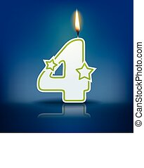 Candle number 4 with flame - eps 10 vector illustration