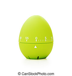 Green kitchen timer on a white background - Green egg-shaped...