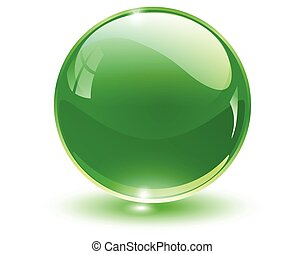 Glass sphere, green vector ball