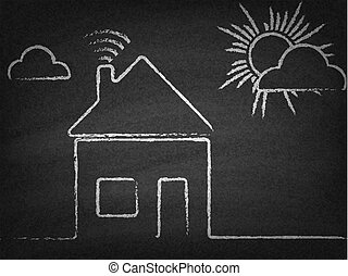 House with wi fi sign drawn chalk on blackboard