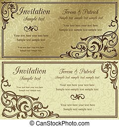 Baroque invitation, brown and beige - Baroque invitation...