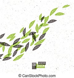 Go Green Concept Poster With Leaves. Vector