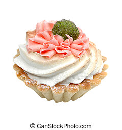 Pink birthday cupcake isolated on white