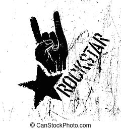 Rockstar symbol with sign of the horns gesture. Vector template