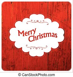 Merry Christmas VIntage Design On Red Planks. Vector
