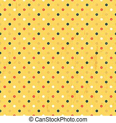 Seamless colorful polka dots pattern with textured layer, vector