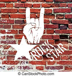 Rockstar symbol with sign of the horns gesture. Vector...