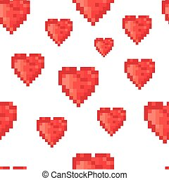 Pixel heart seamless pattern. Vector
