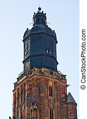 Old tower of the church in Wroclaw, Poland