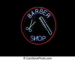 Neon BARBER SHOP sign