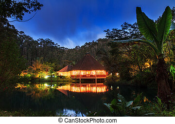 Jungle lodge night - Beautiful jungle lodge at night in the...