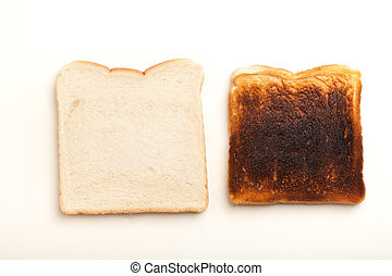 Two slices of bread, raw and burnt toast - Two slices of...