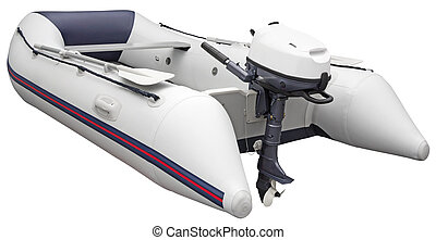 Inflatable dinghy with Outboard motor, isolated on white...