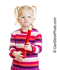 Funny serious kid in eyeglasses with red pencil isolated -...