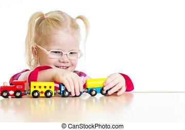 おもちゃ, 隔離された, メガネ, 列車, 子供, 遊び
