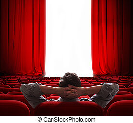 cinema screen red curtains opening for vip person - cinema...