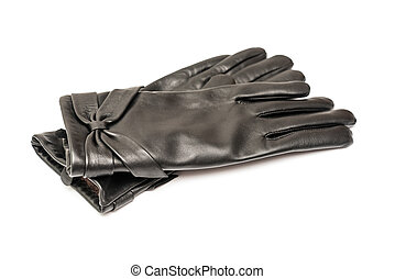 Black Leather Gloves - Woman Black Leather Gloves Isolated
